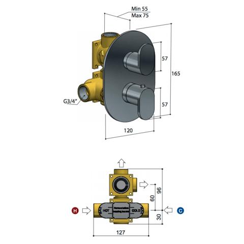 Hotbath Friendo F009 inbouw thermostaat met twee-weg omstel chroom