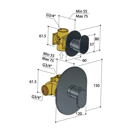 Hotbath Friendo F012 inbouw thermostaat met 1 stopkraan geborsteld nikkel
