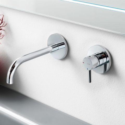 Hotbath Laddy L005J inbouw wastafelmengkraan met gebogen uitloop geborsteld nikkel
