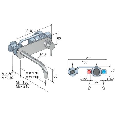 Hotbath Laddy L006J inbouw wastafelmengkraan met gebogen uitloop op achterplaat geborsteld nikkel
