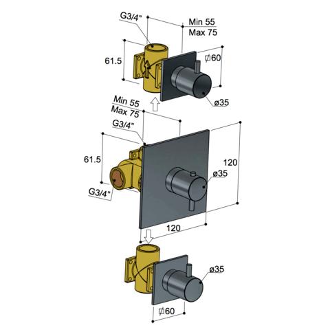 Hotbath Laddy L007 inbouw thermostaat met 2 stopkranen chroom
