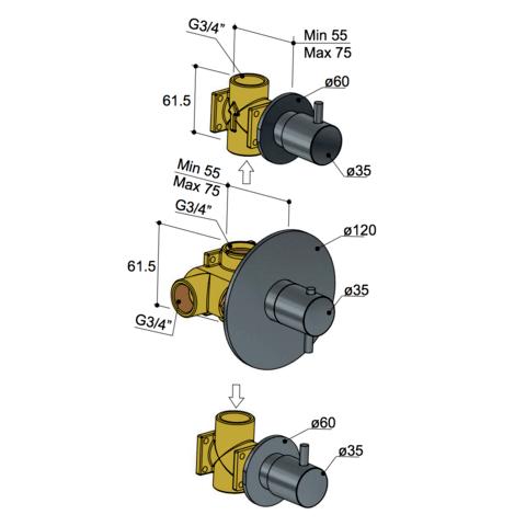 Hotbath Laddy L007R inbouw thermostaat met 2 stopkranen geborsteld nikkel