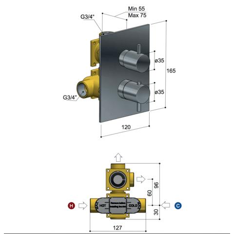 Hotbath Laddy L009 inbouw thermostaat rechthoekig met 2-weg stop-omstel chroom