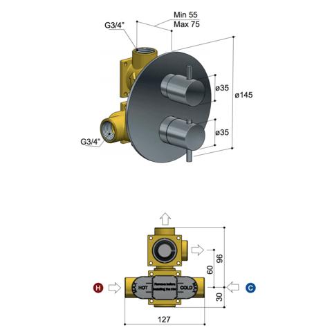 Hotbath Laddy L009R inbouw thermostaat rond met 2-weg stop-omstel geborsteld nikkel