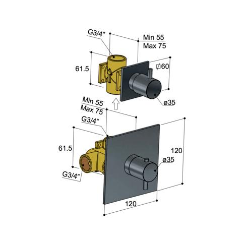 Hotbath Laddy L012 inbouw thermostaat met 1 stopkraan geborsteld nikkel