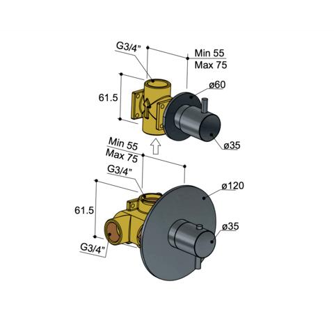 Hotbath Laddy L012R inbouw thermostaat met 1 stopkraan geborsteld nikkel