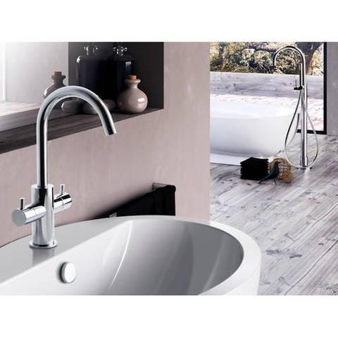 Hotbath Laddy L044 wastafelmengkraan 2 knops zonder waste chroom