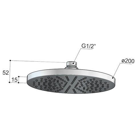 Hotbath Cobber M100 hoofddouche 20cm geborsteld nikkel