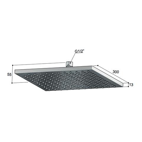 Hotbath Mate M107 hoofddouche vierkant 30cm chroom