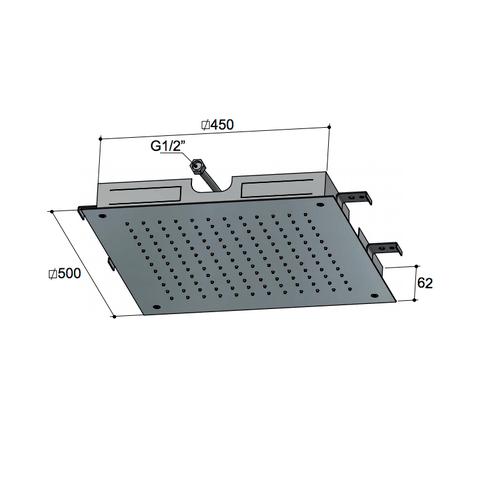 Hotbath Mate M111 hoofddouche vierkant 50cm geborsteld nikkel