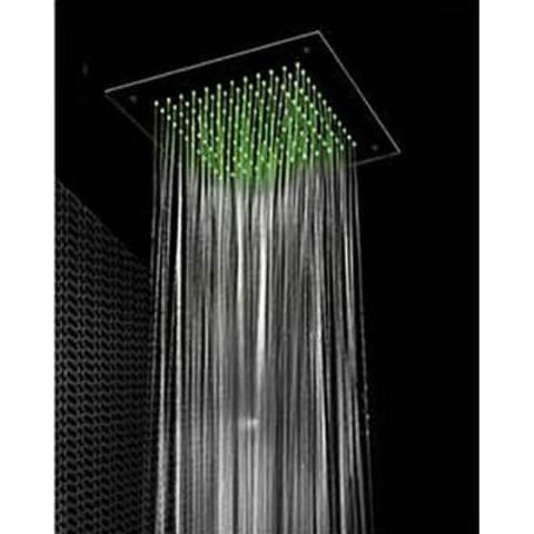 Hotbath Mate M117 hoofddouche vierkant 38cm met LED verlichting geborsteld nikkel