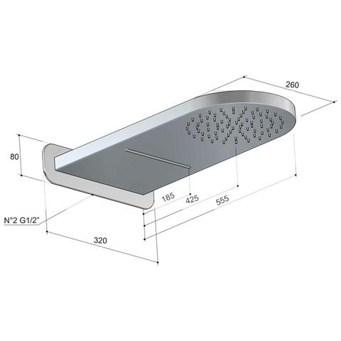 Hotbath Mate M140 Dualflow hoofddouche met regendouche en waterval functie geborsteld nikkel