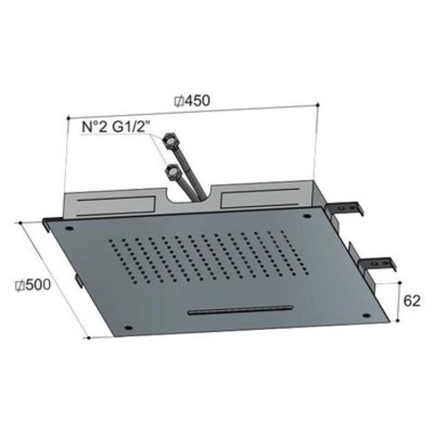 Hotbath Mate M142 Dualflow 50x50cm hoofddouche met regendouche en waterval functie chroom