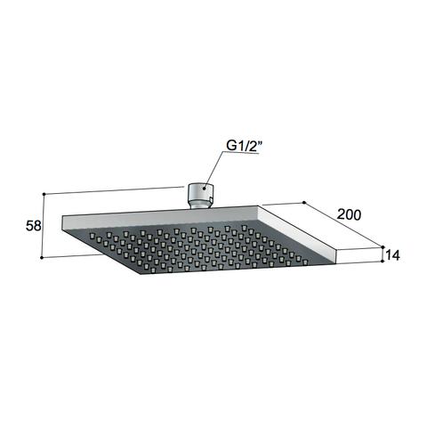 Hotbath Mate M200 hoofddouche 20x20cm vierkant geborsteld nikkel