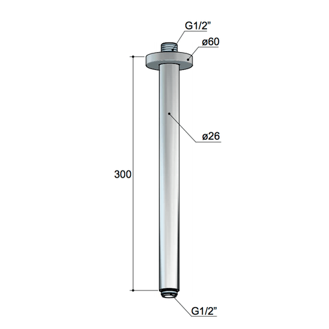 Hotbath Mate M453 plafondbuis rond 30cm chroom
