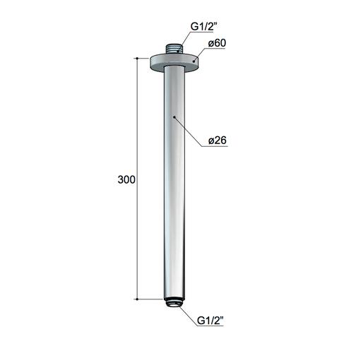 Hotbath Mate M453 plafondbuis rond 30cm geborsteld nikkel