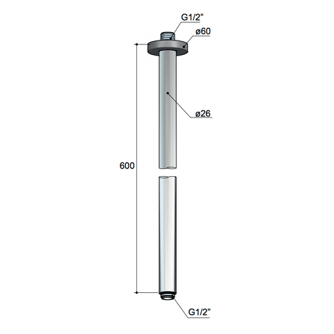 Hotbath Mate M454 plafondbuis rond 60cm geborsteld nikkel
