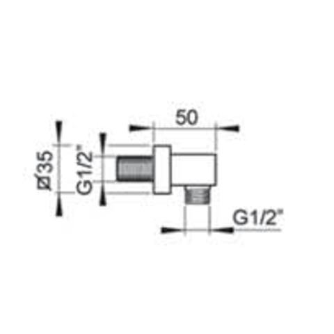 Hotbath Mate M502 wanduitlaat vierkant geborsteld nikkel