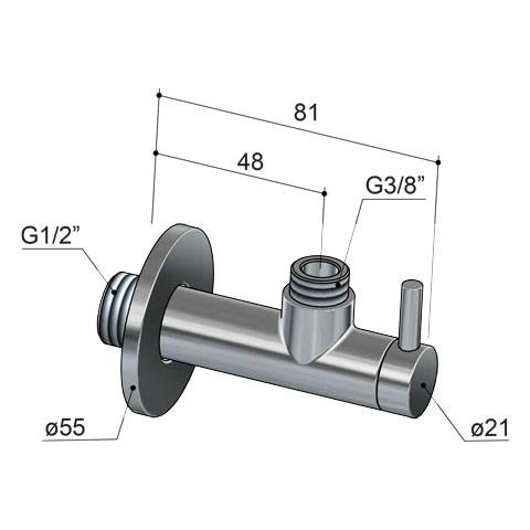 Hotbath Pal P2002 hoekstopkraan met filter rond geborsteld nikkel