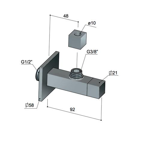 Hotbath Pal P2004 hoekstopkraan met filter vierkant geborsteld nikkel