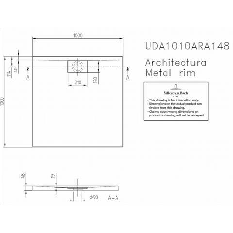 Villeroy & boch Architectura metal rim douchebak 100x100x4.8 cm. wit