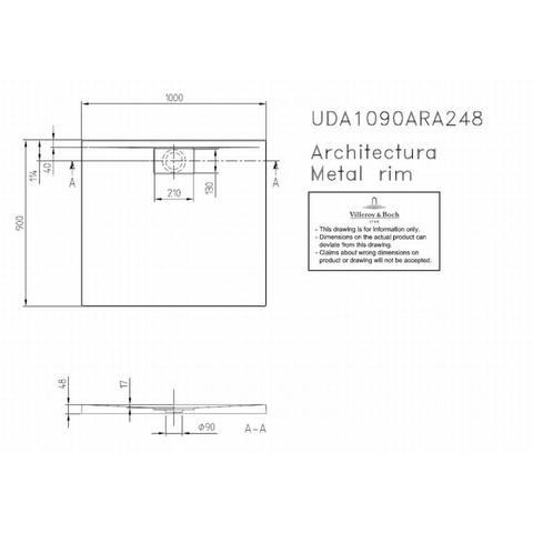 Villeroy & boch Architectura metal rim douchebak 100x90x1.5 cm. wit