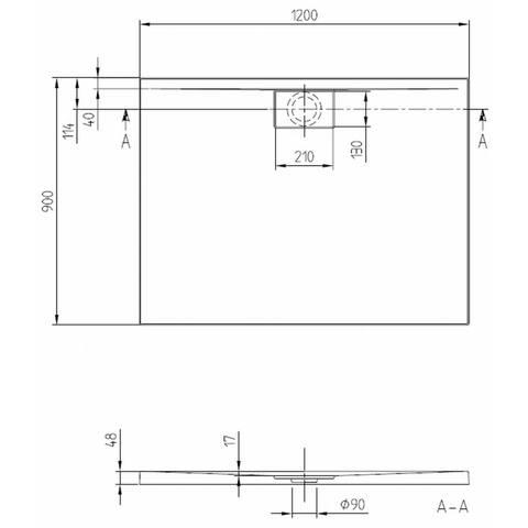 Villeroy & boch Architectura metal rim douchebak 120x90x4.8 cm. wit