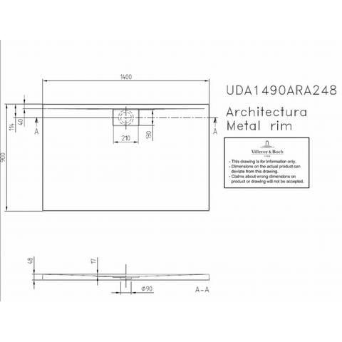 Villeroy & boch Architectura metal rim douchebak 140x90x4.8 cm. wit