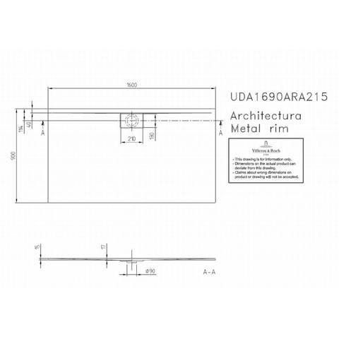 Villeroy & boch Architectura metal rim douchebak 160x90x1.5 cm. wit