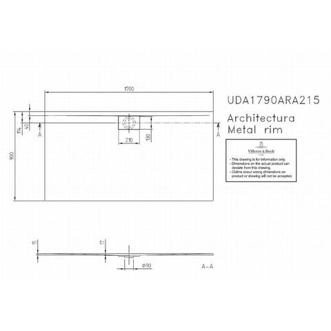 Villeroy & boch Architectura metal rim douchebak 170x90x1.5 cm. wit
