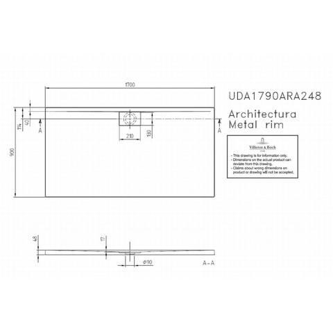 Villeroy & boch Architectura metal rim douchebak 170x90x4.8 cm. wit