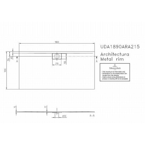 Villeroy & boch Architectura metal rim douchebak 180x90x1.5 cm. wit