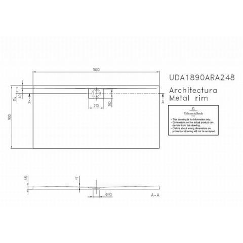 Villeroy & boch Architectura metal rim douchebak 180x90x4.8 cm. wit