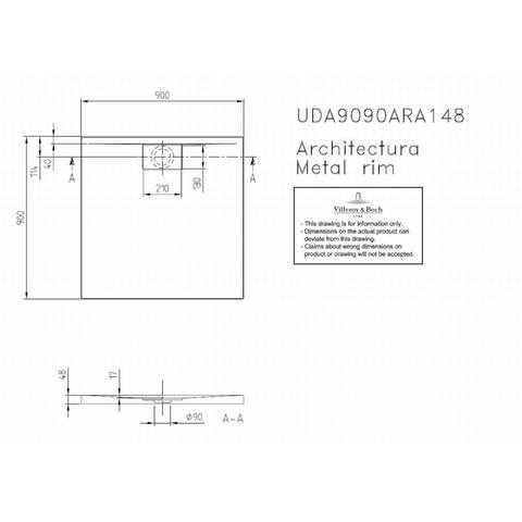 Villeroy & boch Architectura metal rim douchebak 90x90x4.8 cm. wit
