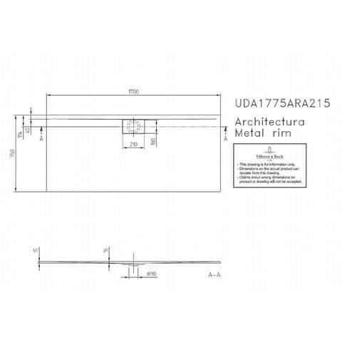 Villeroy & boch Architectura metal rim douchebak 170x75x1.5 cm. wit