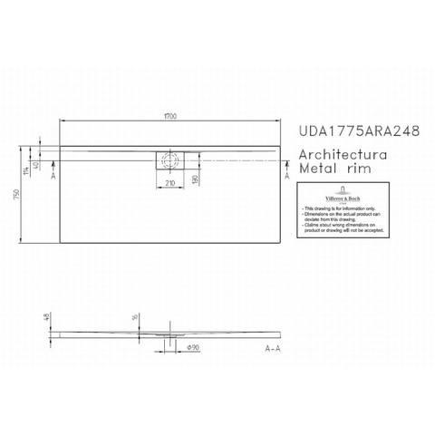 Villeroy & boch Architectura metal rim douchebak 170x75x4.8 cm. wit