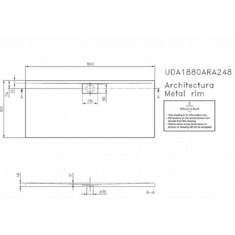 Villeroy & boch Architectura metal rim douchebak 180x80x4.8 cm. wit