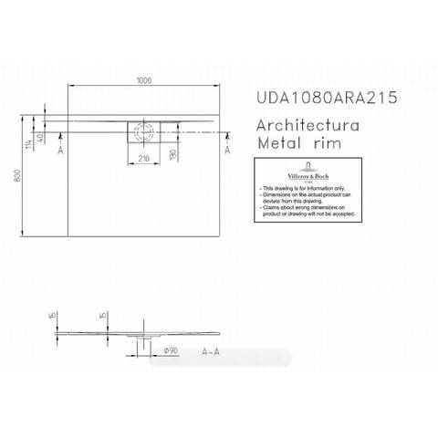 Villeroy & boch Architectura metal rim douchebak 100x80x1.5 cm. wit