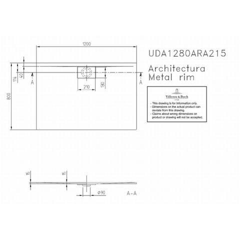 Villeroy & boch Architectura metal rim douchebak 120x80x1.5 cm. wit