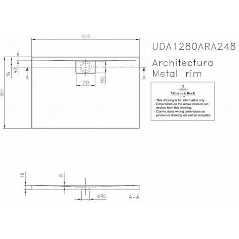 Villeroy & boch Architectura metal rim douchebak 120x80x4.8 cm. wit