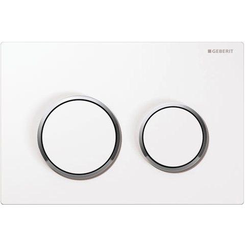 Geberit Omega 20 bedieningsplaat 2-knops front/planchetbediening wit-chroom-wit