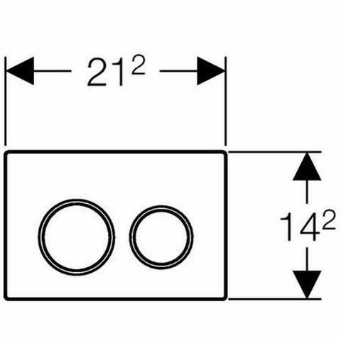 Geberit Omega 20 bedieningsplaat 2-knops front/planchetbediening wit-mat chroom-mat chroom