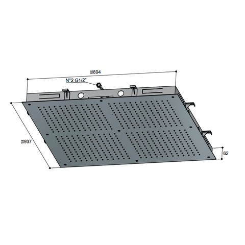 Hotbath Mate M204 hoofddouche 90x90 cm geborsteld nikkel