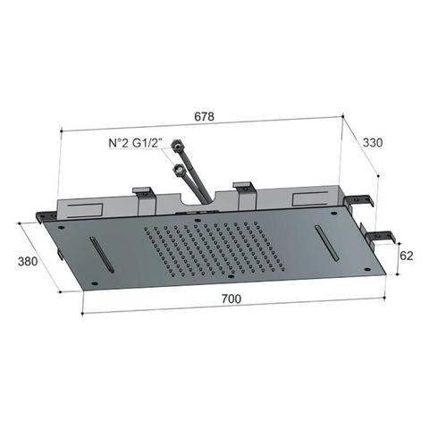 Hotbath Mate M143 Dualflow 38x70cm hoofddouche met regendouche en waterval functie geborsteld nikkel