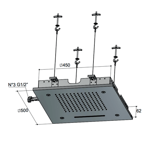 Hotbath Mate M145 hoofddouche vierkant 50cm geborsteld nikkel