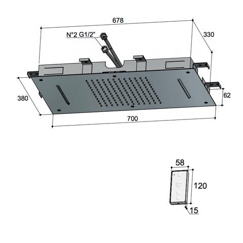 Hotbath Mate M144 Dualflow 38x70cm hoofddouche met regendouche waterval functie en led verlichting geborsteld nikkel
