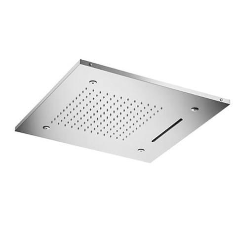 Hotbath Mate M146 Dualflow 50 x 50 cm vierkante hoofddouche met regendouche waterval functie en LED verlichting geborsteld nikkel