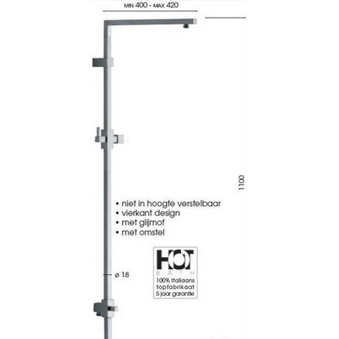 Hotbath Mate M405 stortdouchestang vierkant design 110 cm geborsteld nikkel