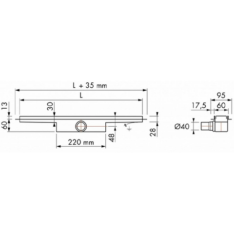 Easydrain Compact 30 douchegoot 100cm - met flens