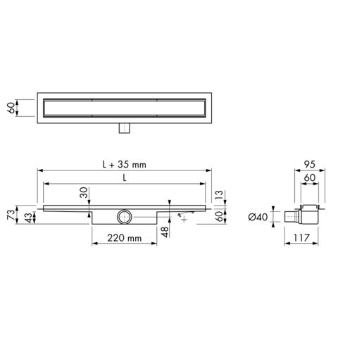 Easydrain Compact 30 douchegoot 90cm - met flens